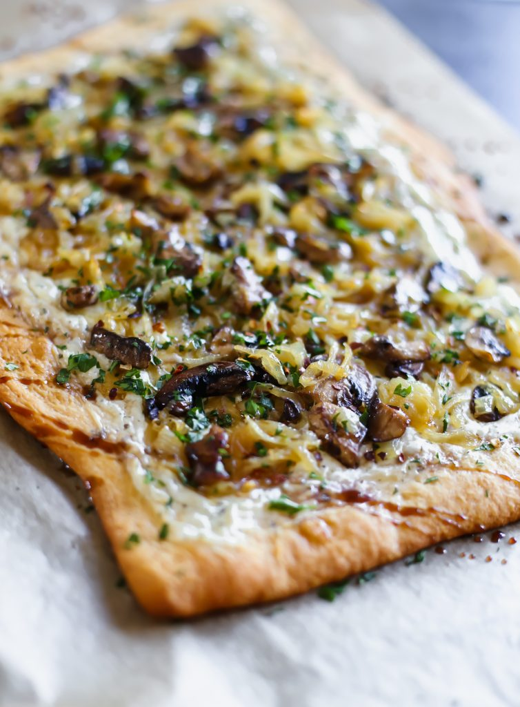 Caramelized Onion Tart with Mushrooms and Alouette Cheese