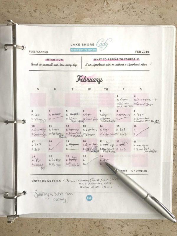February Fitness Planner