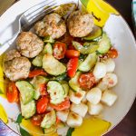 Roasted Zucchini and Tomatoes with Baked Turkey Meatballs and Trader Joe's Cauliflower Gnocchi