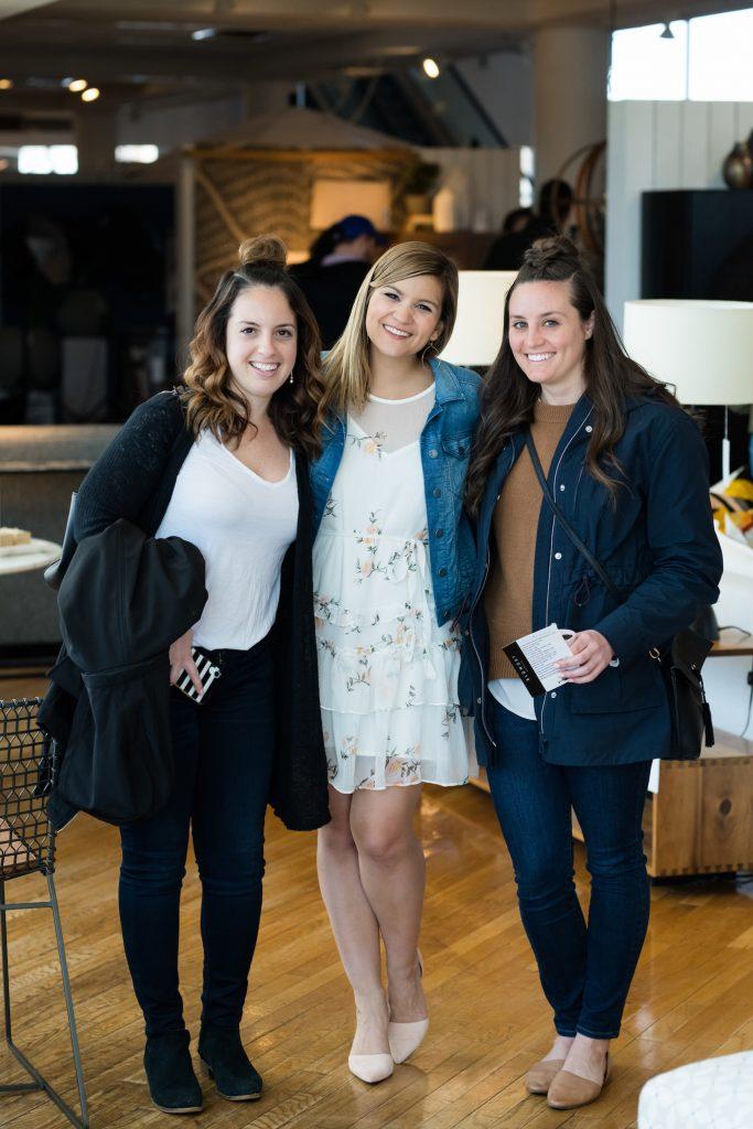 Lauren Nolan with her friends at Crate & Barrel wedding event