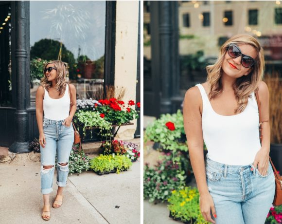Sustainable Boyfriend Jeans + A Low Back Bodysuit (that's actually a swimsuit!)