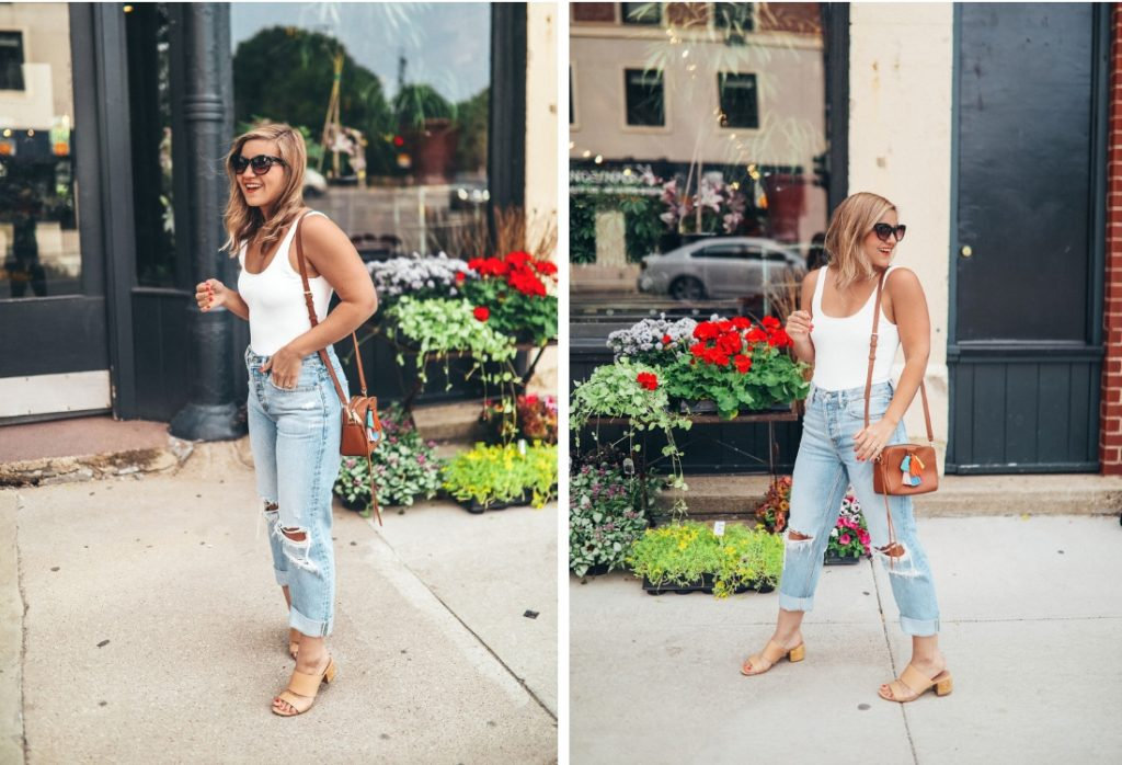 A Spring Outfit - Sustainable Distressed Boyfriend Jeans + A Low Back Bodysuit