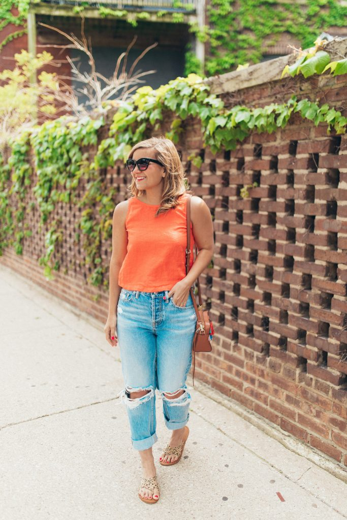 Lou & Grey Top & Everlane Jeans outfit