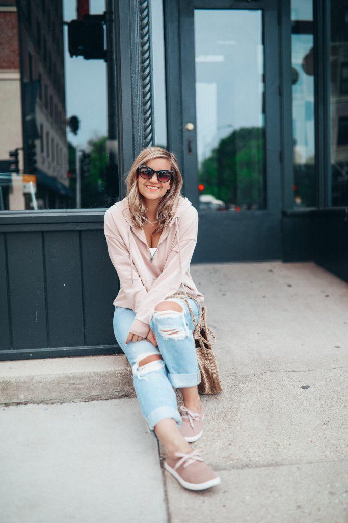 Lauren is wearing boyfriend distressed jeans