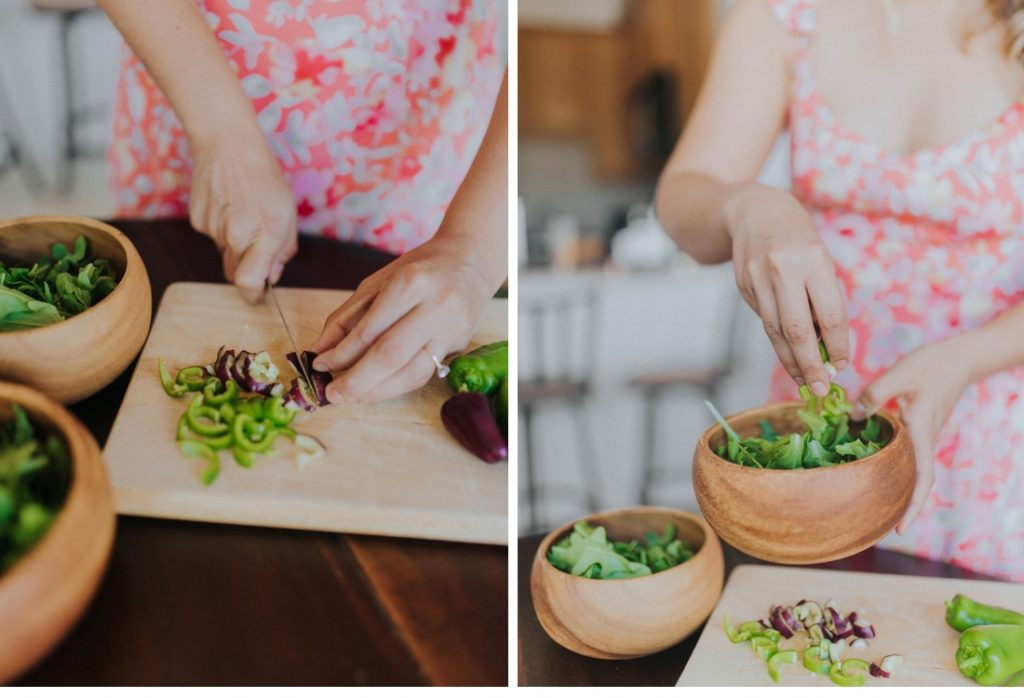 How To Have A Garden In The City - Lauren is chopping her vegetables for a meal