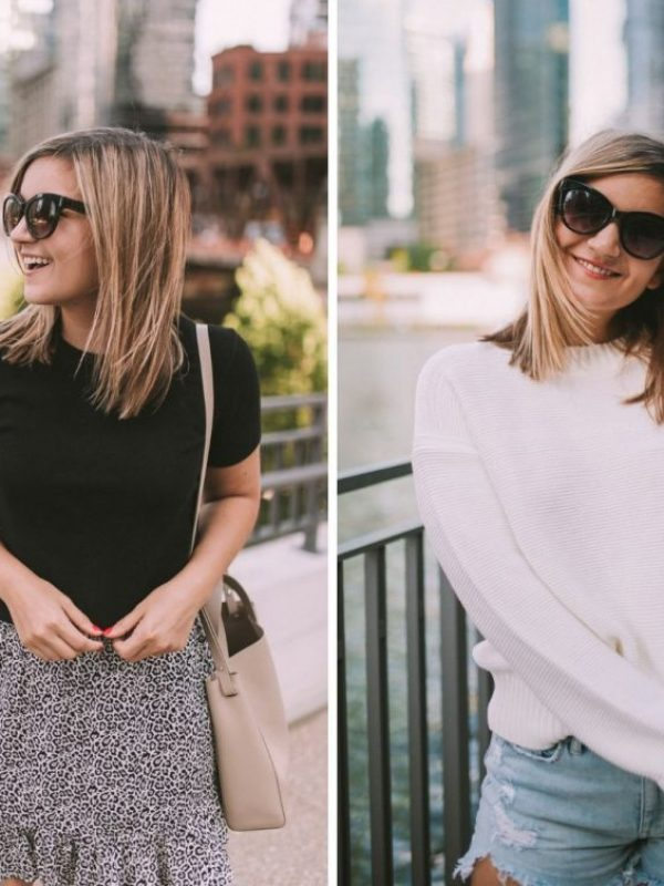 left is a girl in a black shirt and right is a girl in an everlane cashmere sweaters