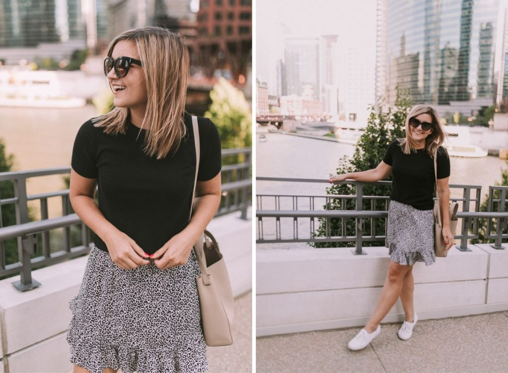a black shirt and a skirt