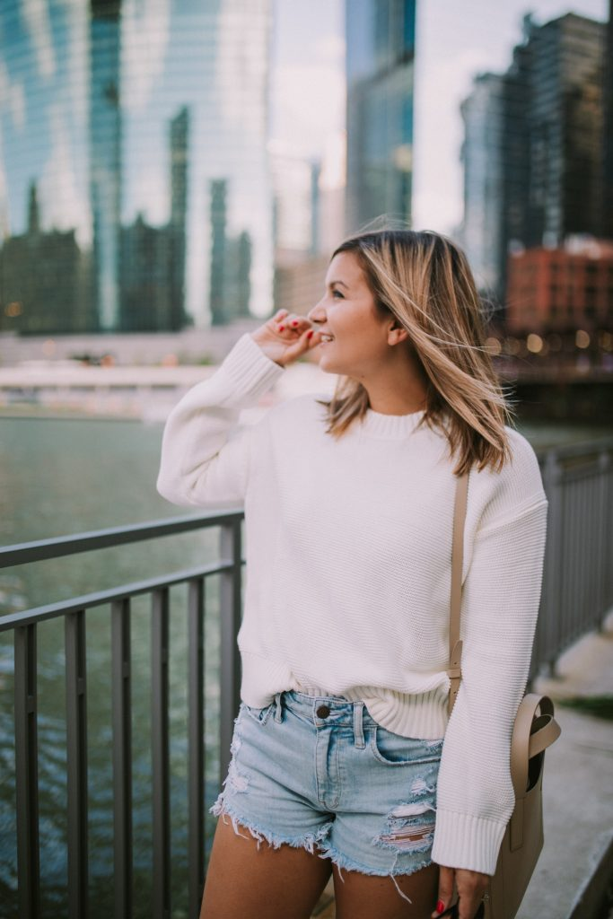 an everlane cashmere sweater and a view of a rive