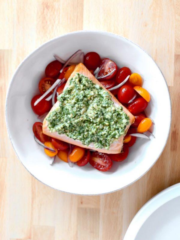 Vegan Pesto with Salmon and Tomato Salad