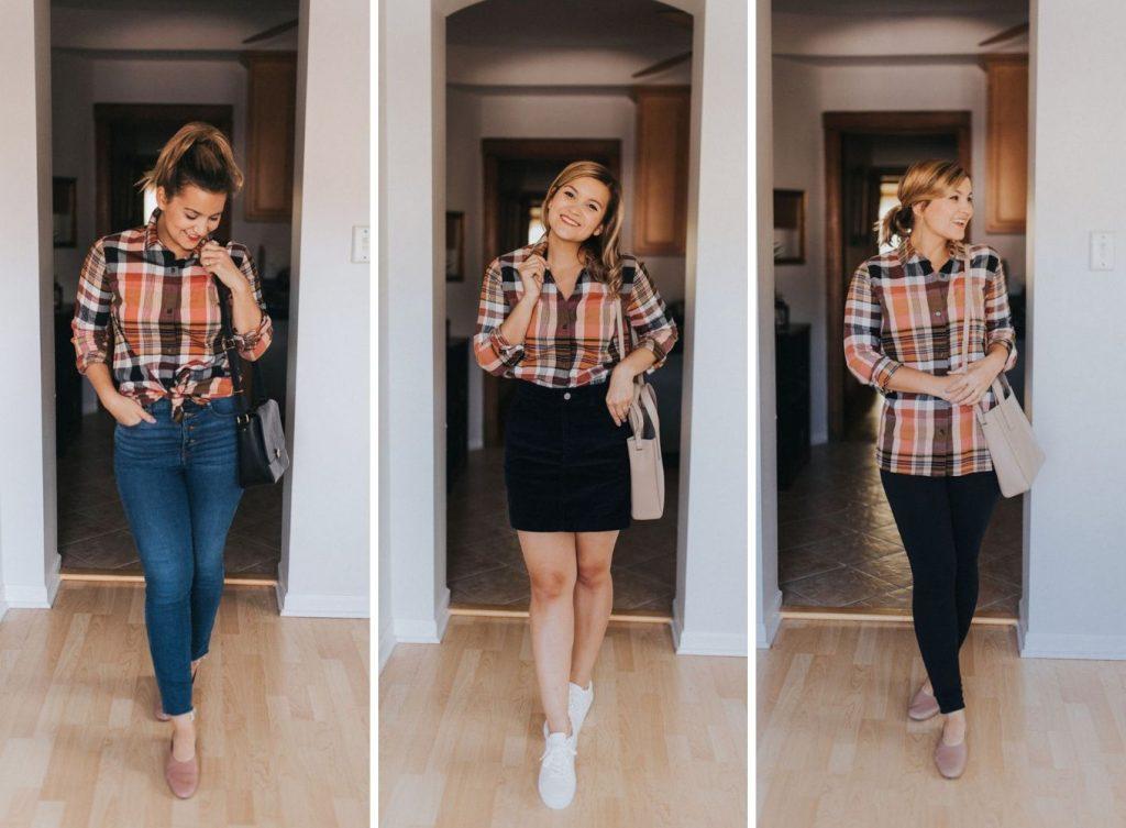 plaid shirt - Fall Capsule Wardrobe For Petites