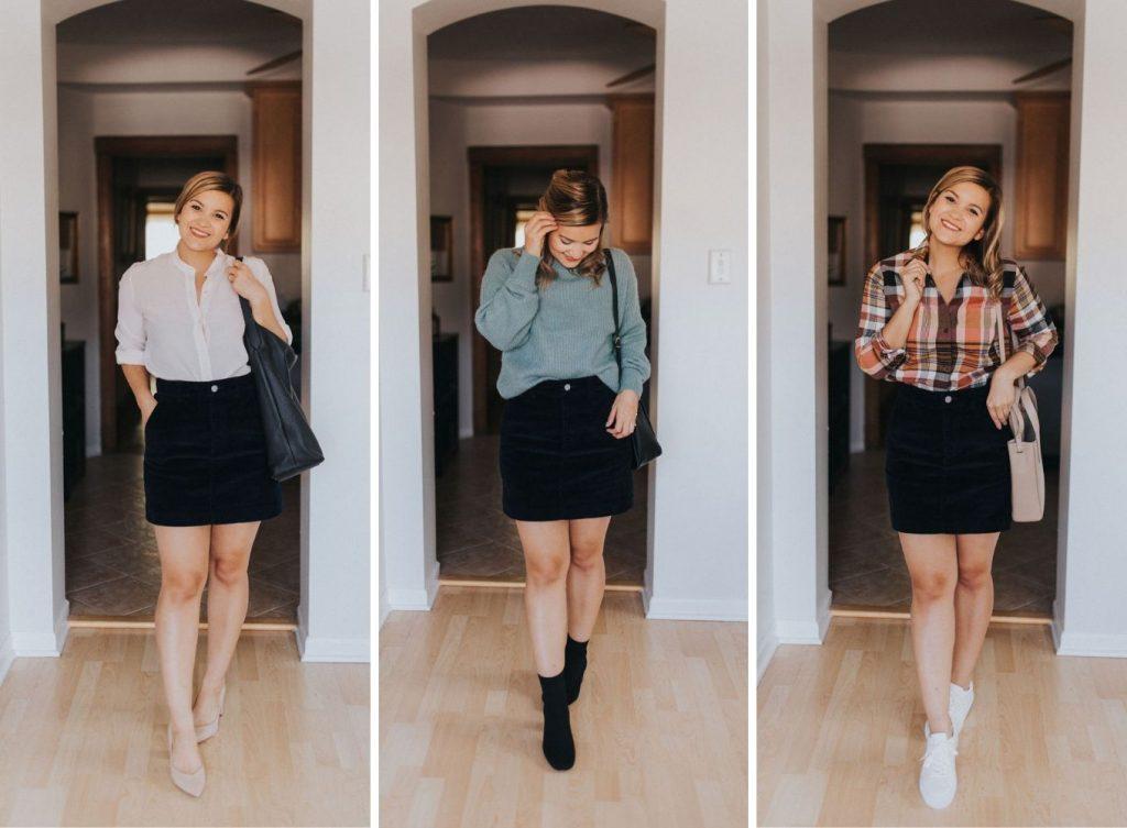 corduroy skirt Fall Capsule Wardrobe For Petites