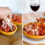Spaghetti Squash with Ground Turkey Tomato Sauce