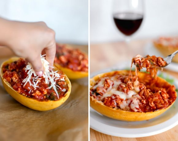 Spaghetti Squash with Ground Turkey Tomato Sauce