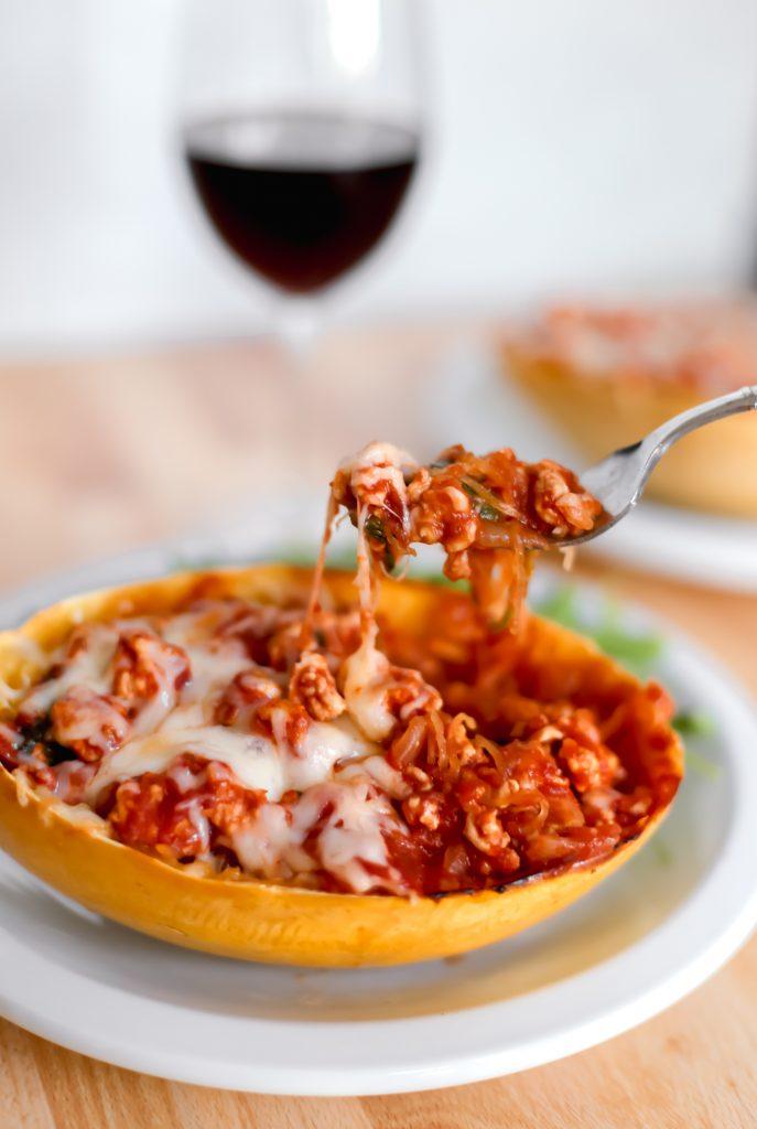 SpaghettiSquashWith Ground Turkey Tomato Sauce
