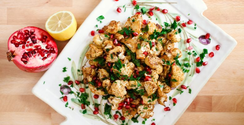 Cauliflower Side Dish with Spices, Lemon, and Pomegranate Seeds