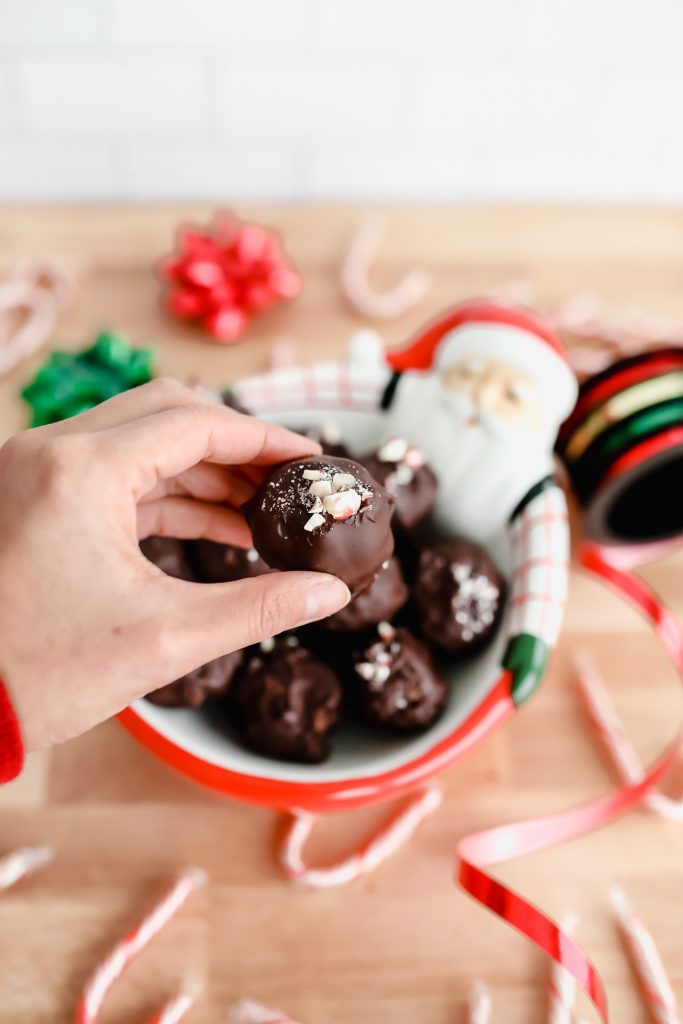 mint chocolate coconut truffles