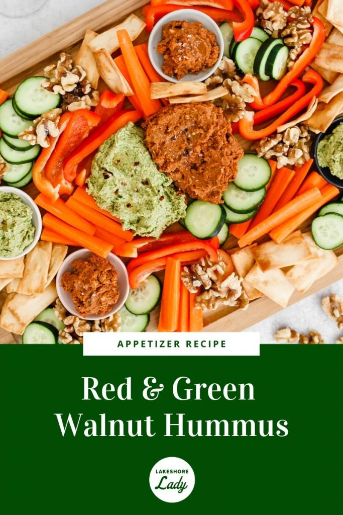 red and green walnut hummus