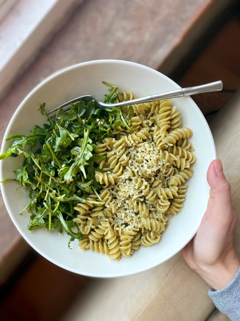 pesto pasta and arugula salad