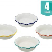 Porcelain Ceramic Individual Mini Pie Pans With Classic Fluted Rims 4 Bright Colors (4)