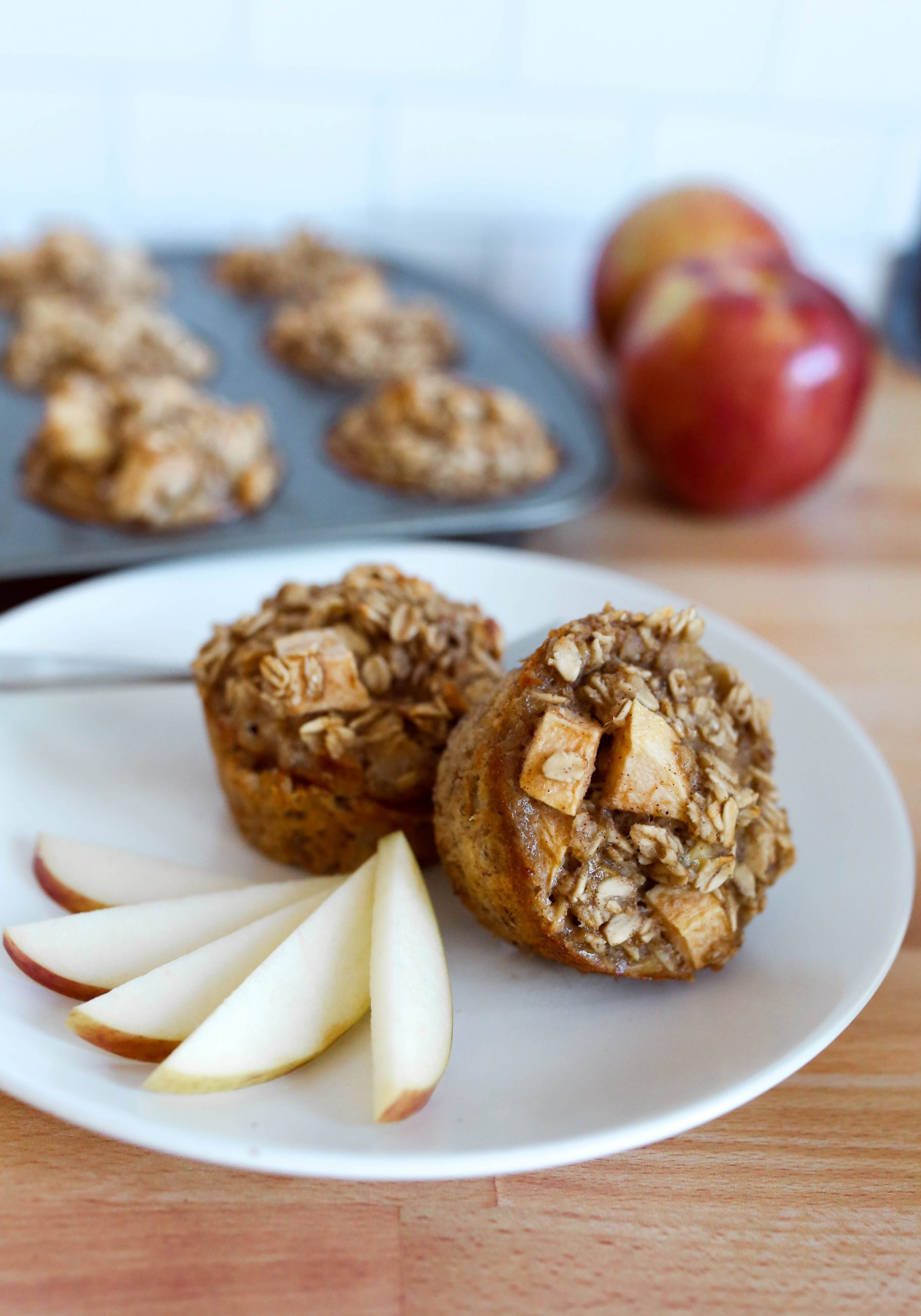 Baked Banana Oatmeal Cups with Apple