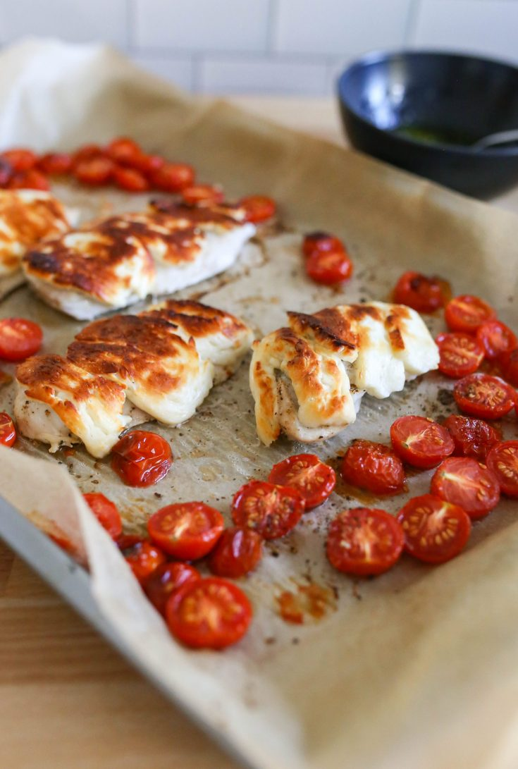Halloumi Chicken with Tomatoes and Mint Sauce