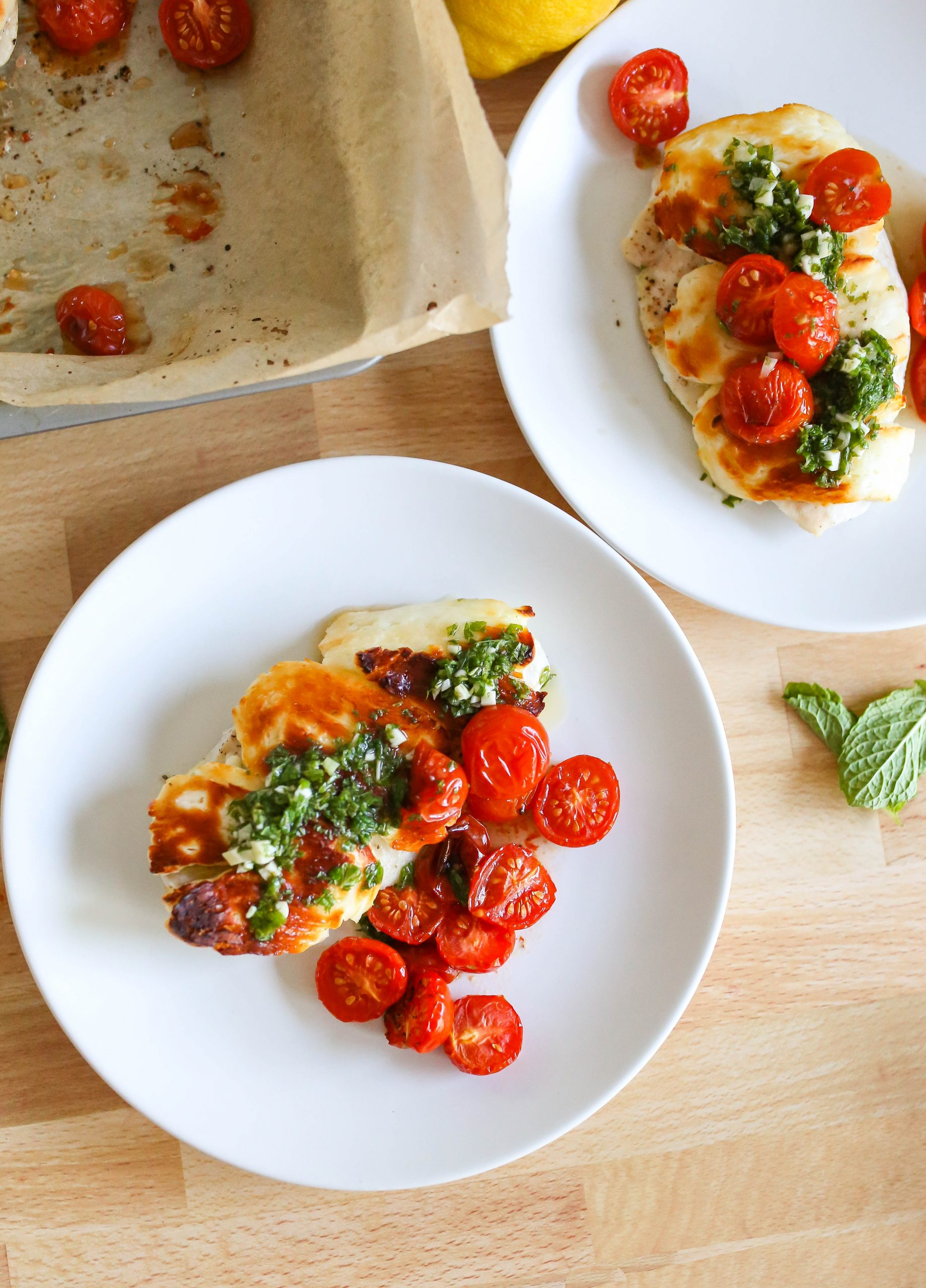 Halloumi Chicken Recipe with Tomatoes and Mint Sauce