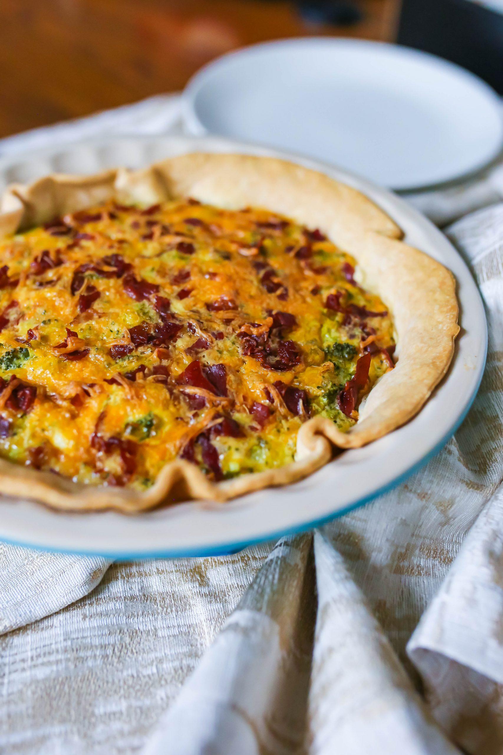 Broccoli Cheddar Quiche with Crispy Prosciutto