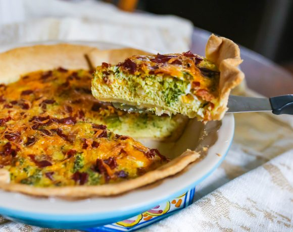 Broccoli Cheddar Quiche with Crispy Prosciutto