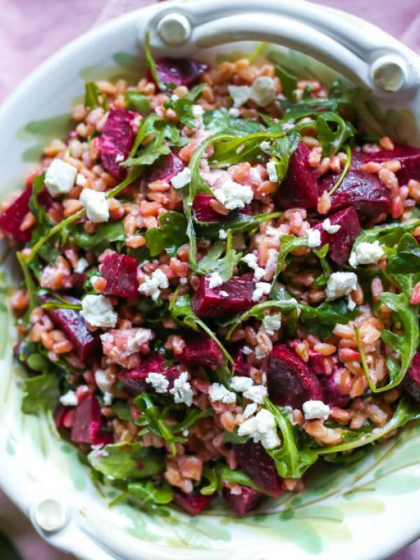 Beet Salad Recipe with Farro and Goat Cheese