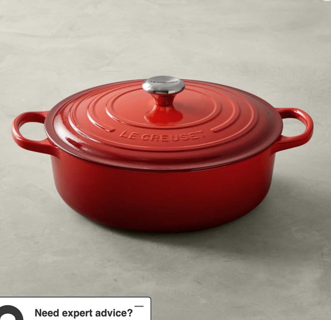 Le Creuset Signature Enameled Cast Iron Round Wide Dutch Oven, 6 3/4-Qt., Red