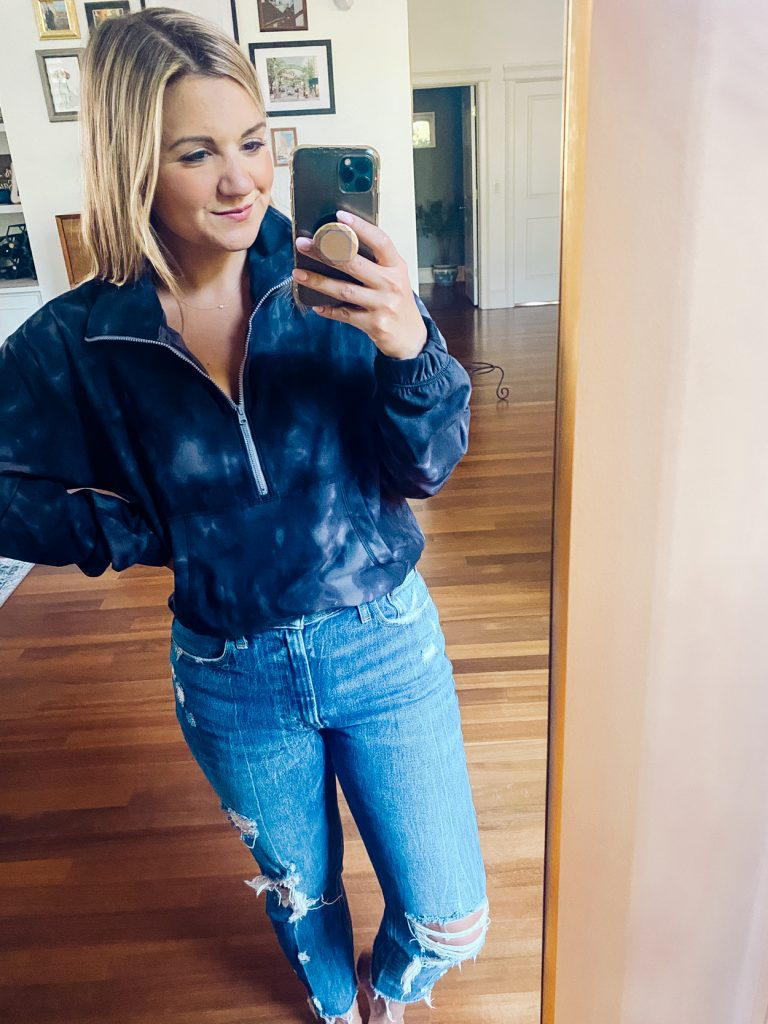 woman wearing zip top and jeans from Petite Friendly Items from Abercrombie