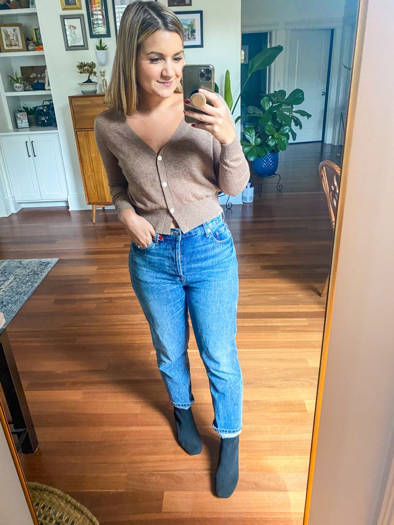 woman wearing cashmere polo from Petite Friendly Items from Everlane