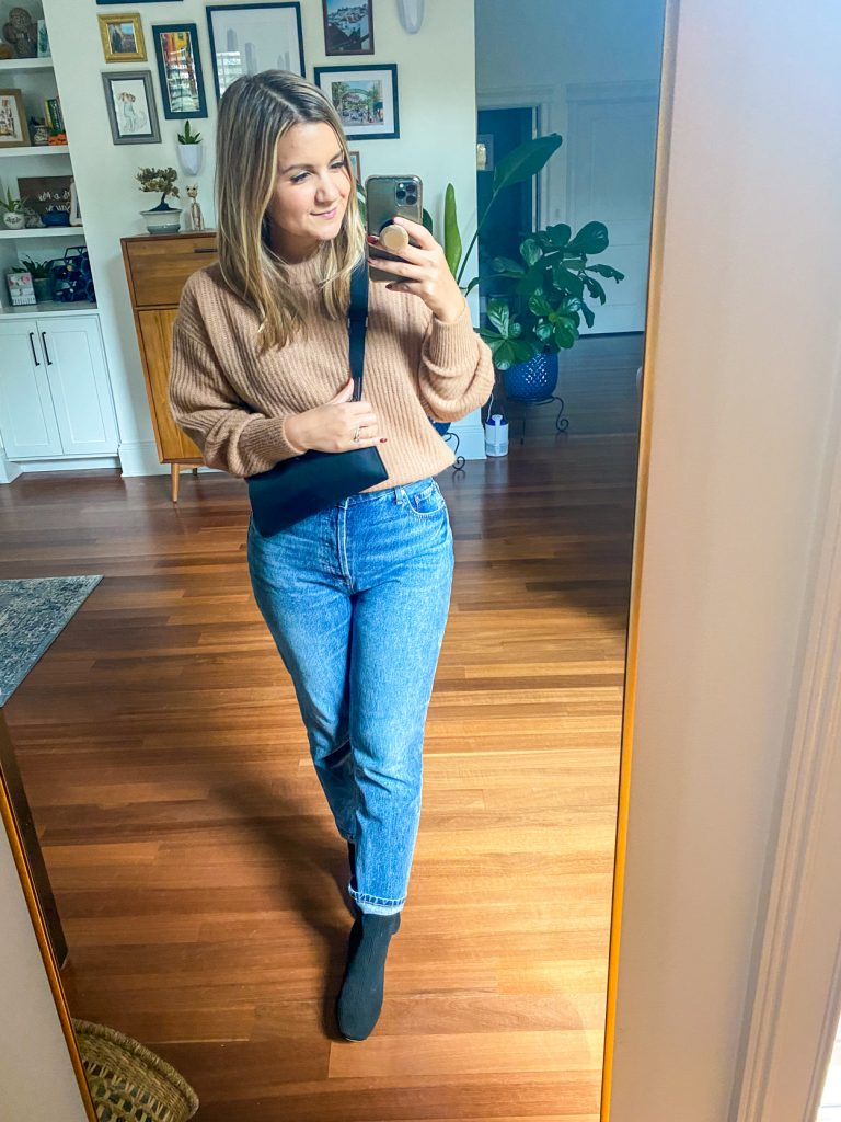 woman wearing glove boots from Petite Friendly Items from Everlane