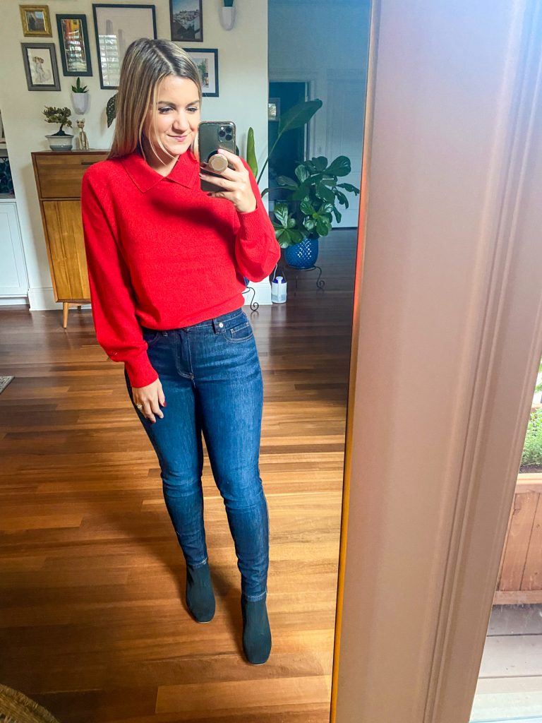 woman wearing cashmere collared sweater from Petite Friendly Items from Everlane
