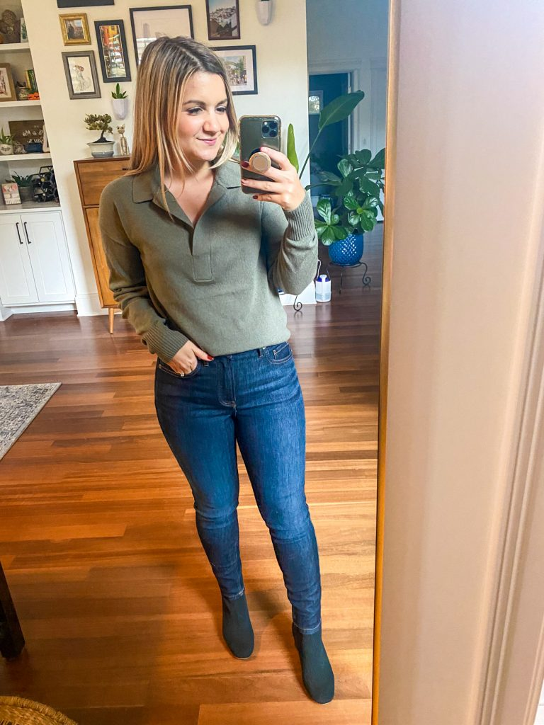 woman wearing green collared sweater from Petite Friendly Items from Everlane