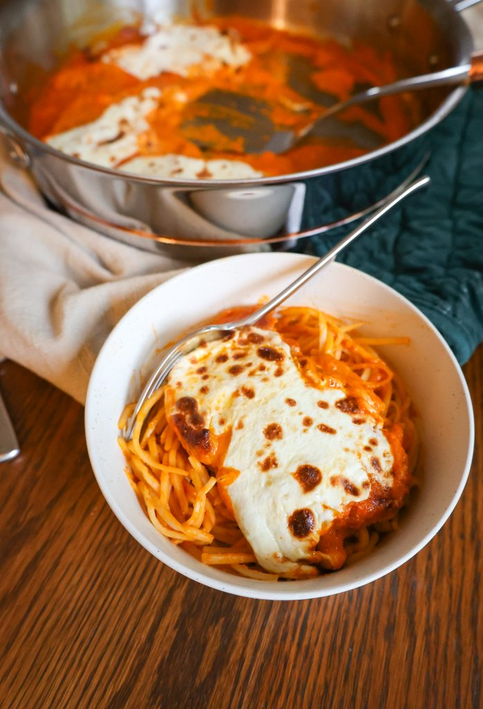 a serving of One Pan Chicken Parmesan