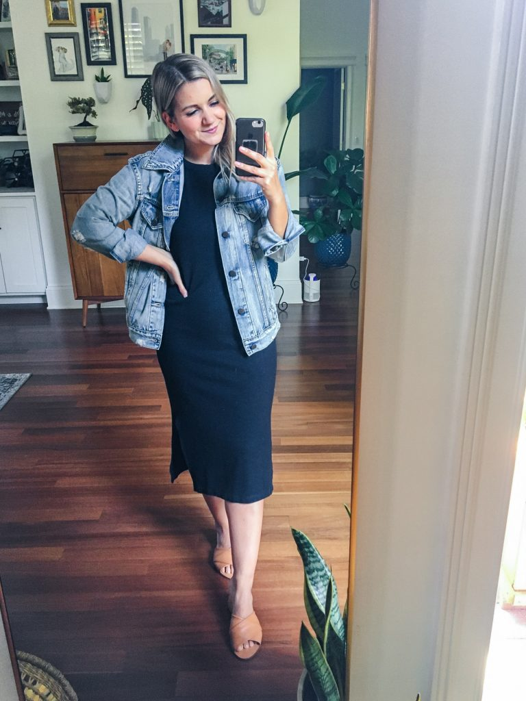 Comfy Midi Dress and jean jacket outfit