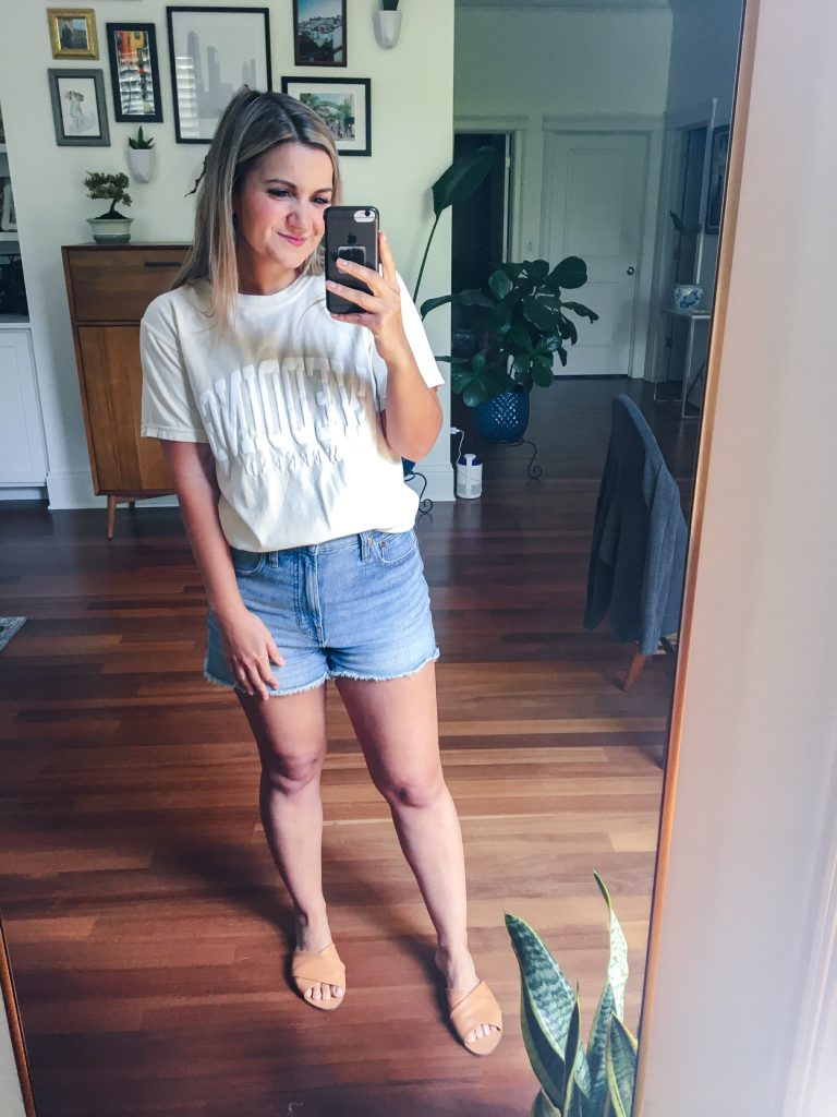 t shirt and jean shorts for wedding weekend