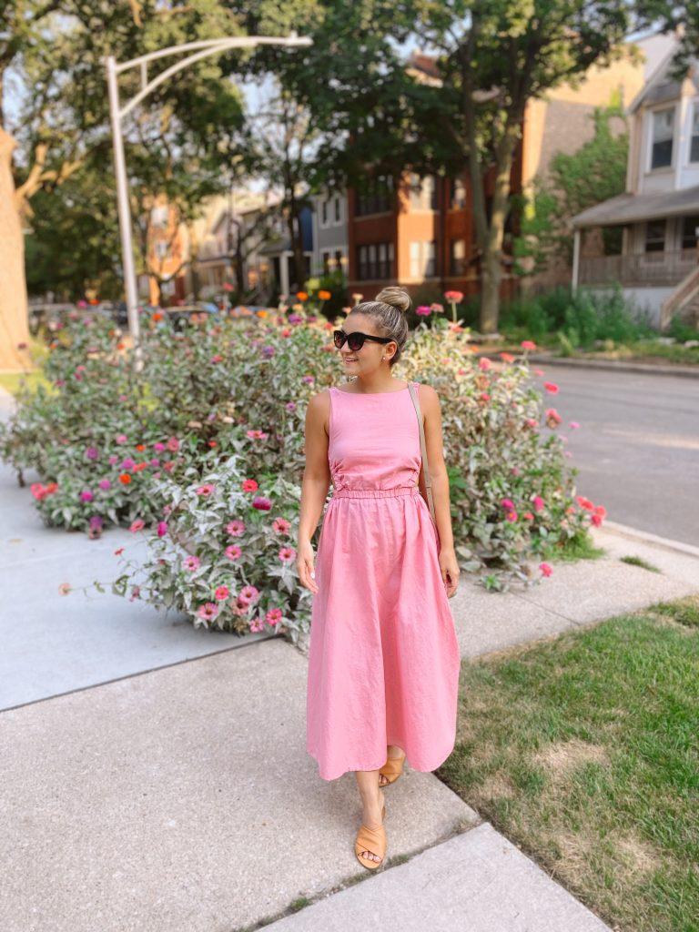 woman in pink dress sharing Sunday Spotlights 58