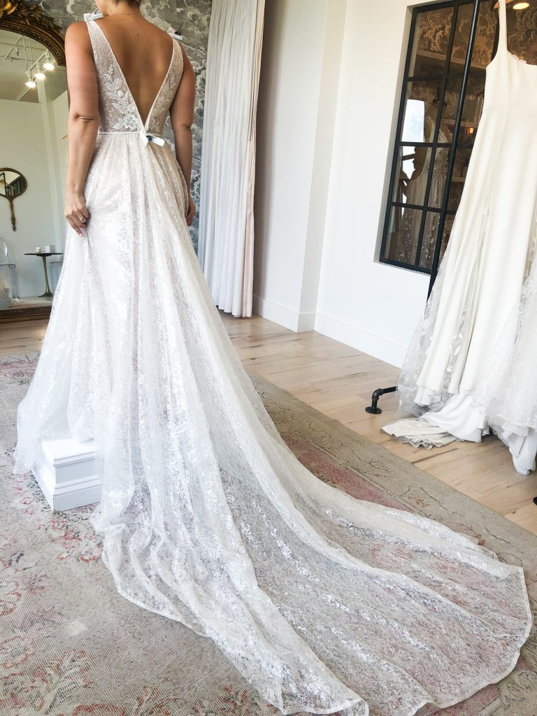 the back details of a wedding dress