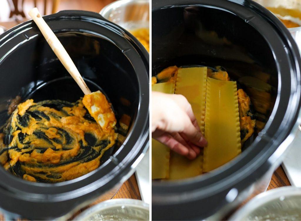 adding pumpkin sauce and lasgna