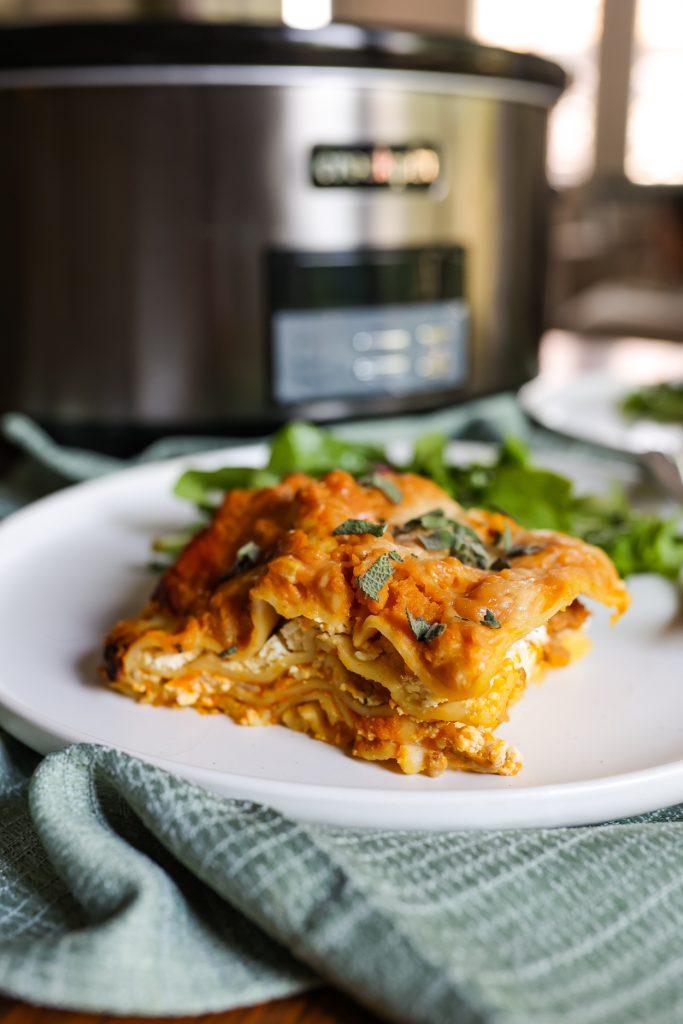 a slice of Crockpot Pumpkin Lasagna