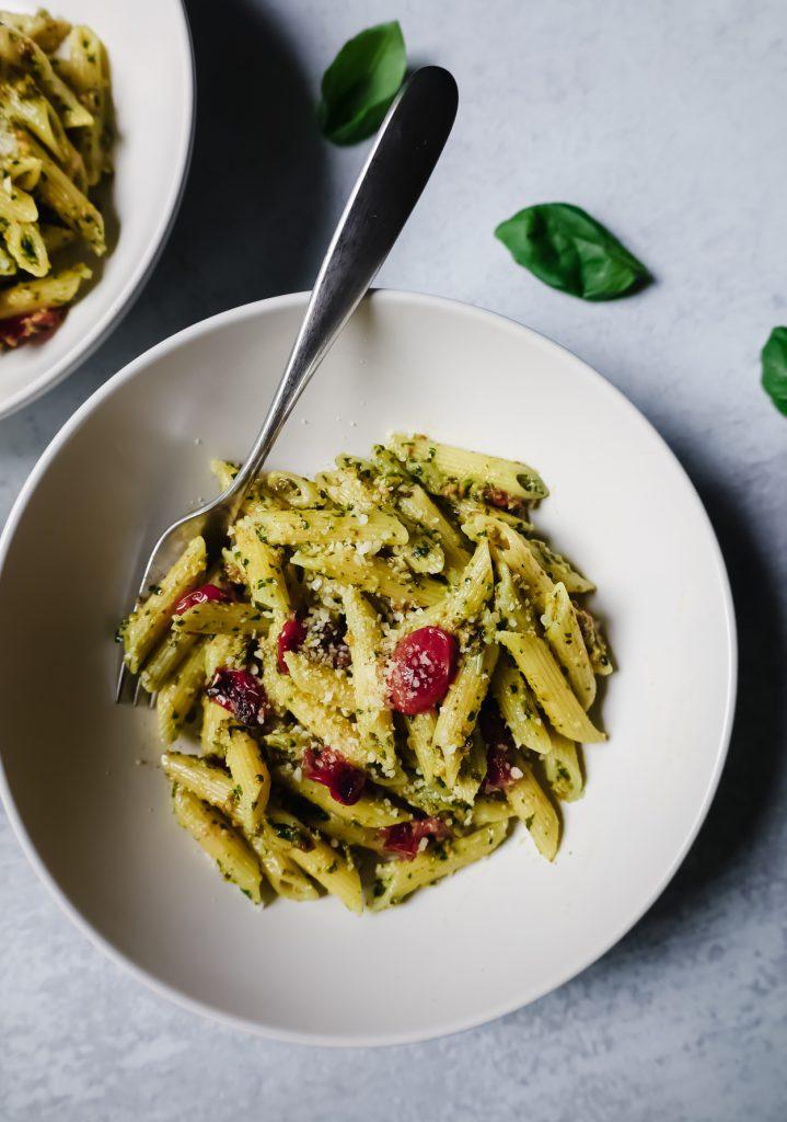 Recipe for Pistachio Pesto on a white bowl