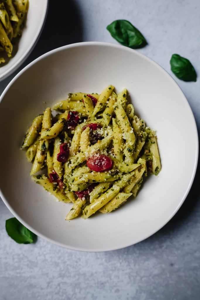 cooked Recipe for Pistachio Pesto on a bowl