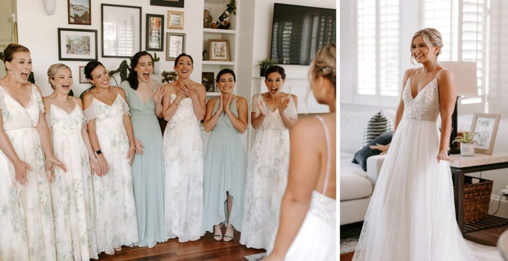 bridesmaid surprised with their first look