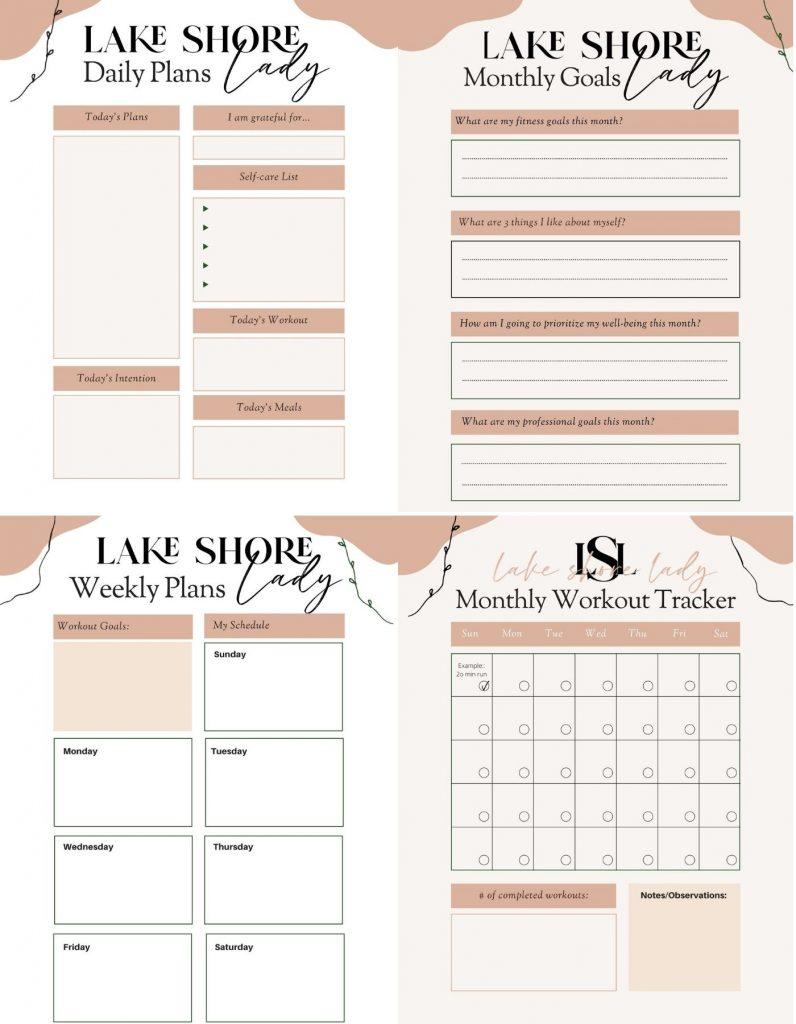 printable Workout & Wellness Planners